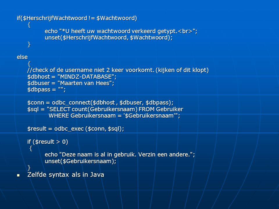 Zelfde syntax als in Java