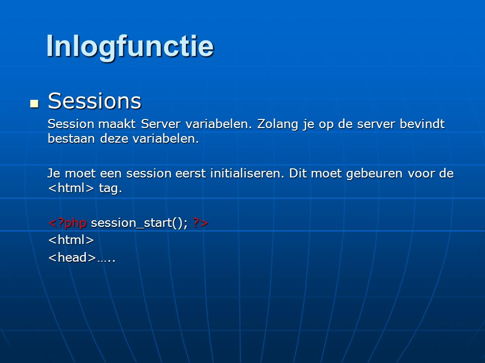 Inlogfunctie Sessions