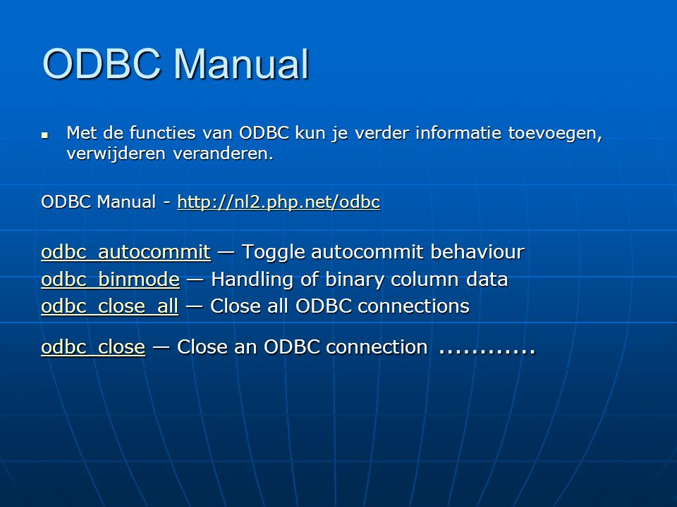 ODBC Manual odbc_autocommit — Toggle autocommit behaviour