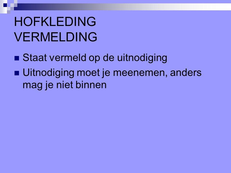 HOFKLEDING VERMELDING
