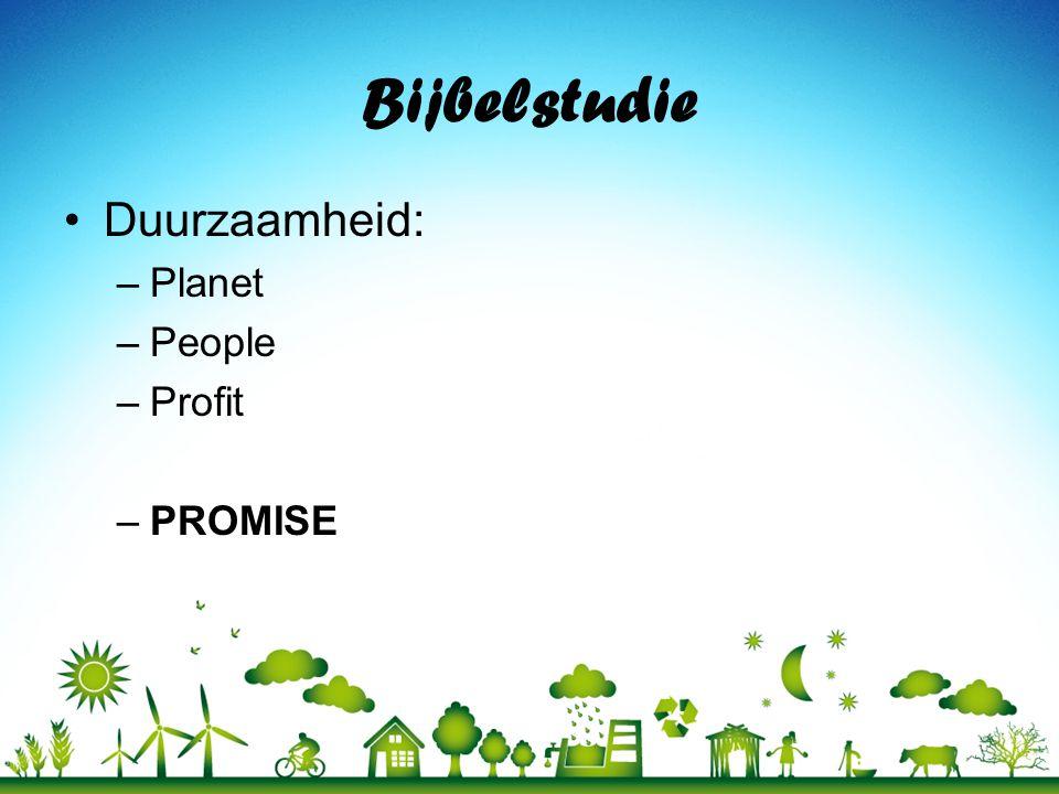 Bijbelstudie Duurzaamheid: Planet People Profit PROMISE