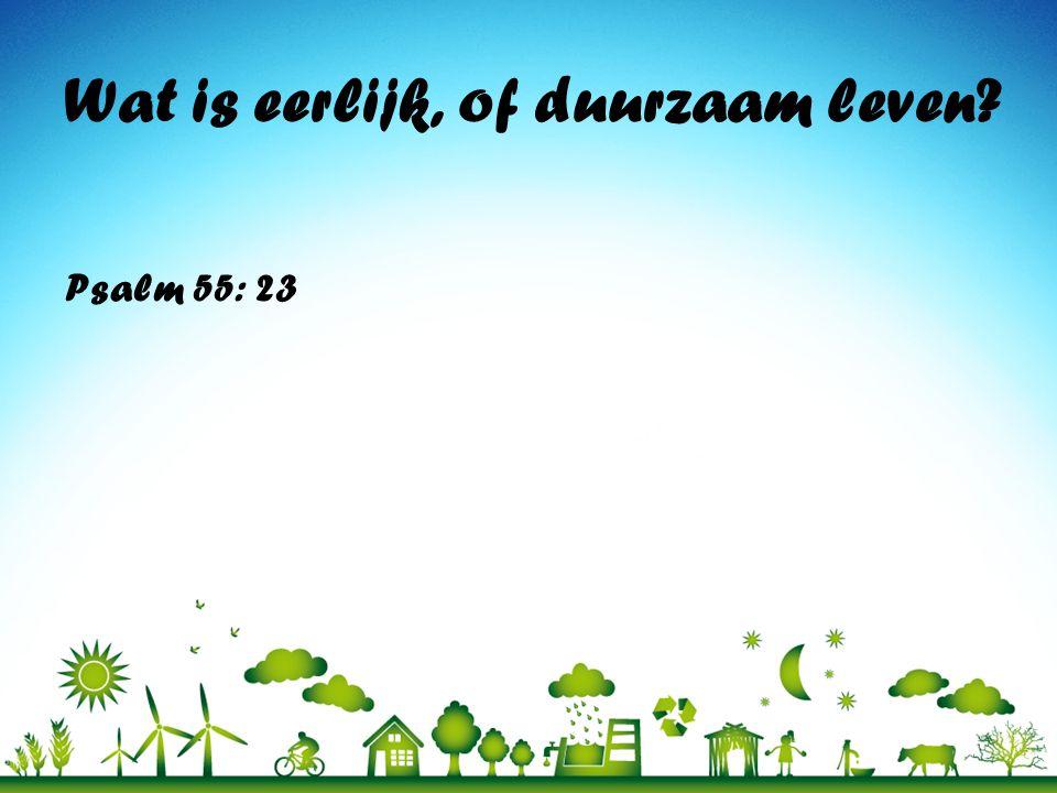 Wat is eerlijk, of duurzaam leven