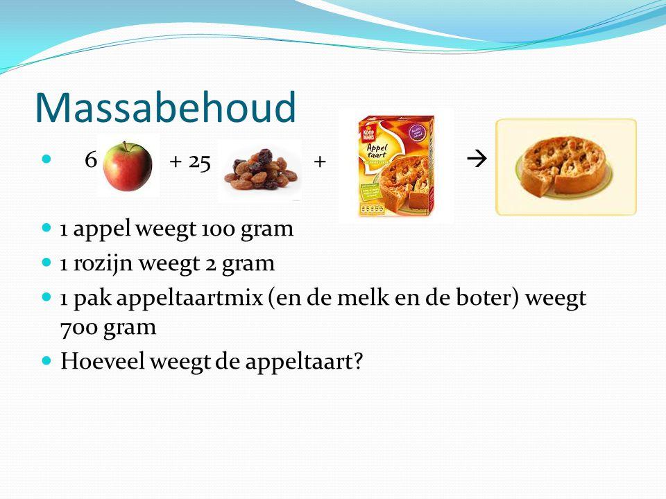Massabehoud 6 + 25 +  1 appel weegt 100 gram 1 rozijn weegt 2 gram