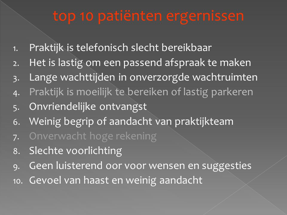 top 10 patiënten ergernissen