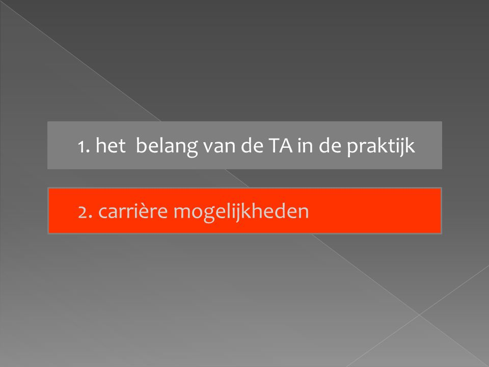 1. het belang van de TA in de praktijk