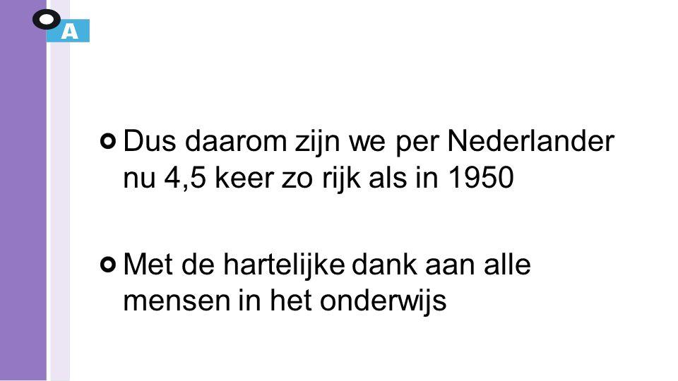 Dus daarom zijn we per Nederlander nu 4,5 keer zo rijk als in 1950