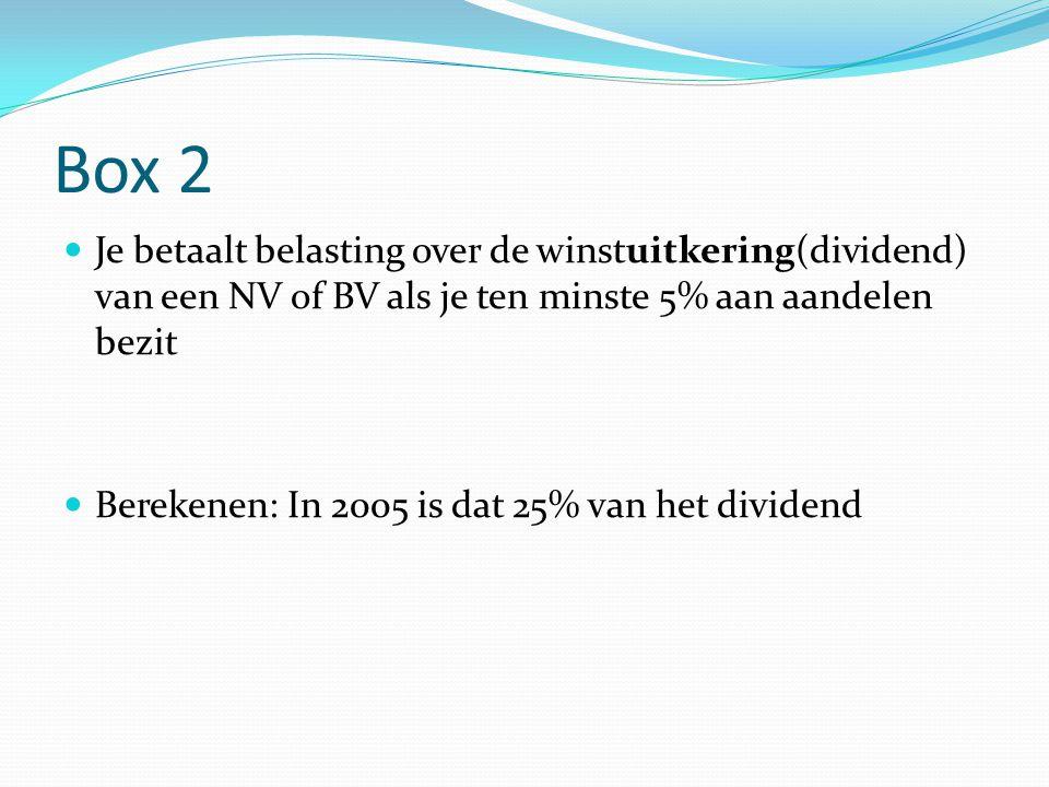 Box 2 Je betaalt belasting over de winstuitkering(dividend) van een NV of BV als je ten minste 5% aan aandelen bezit.