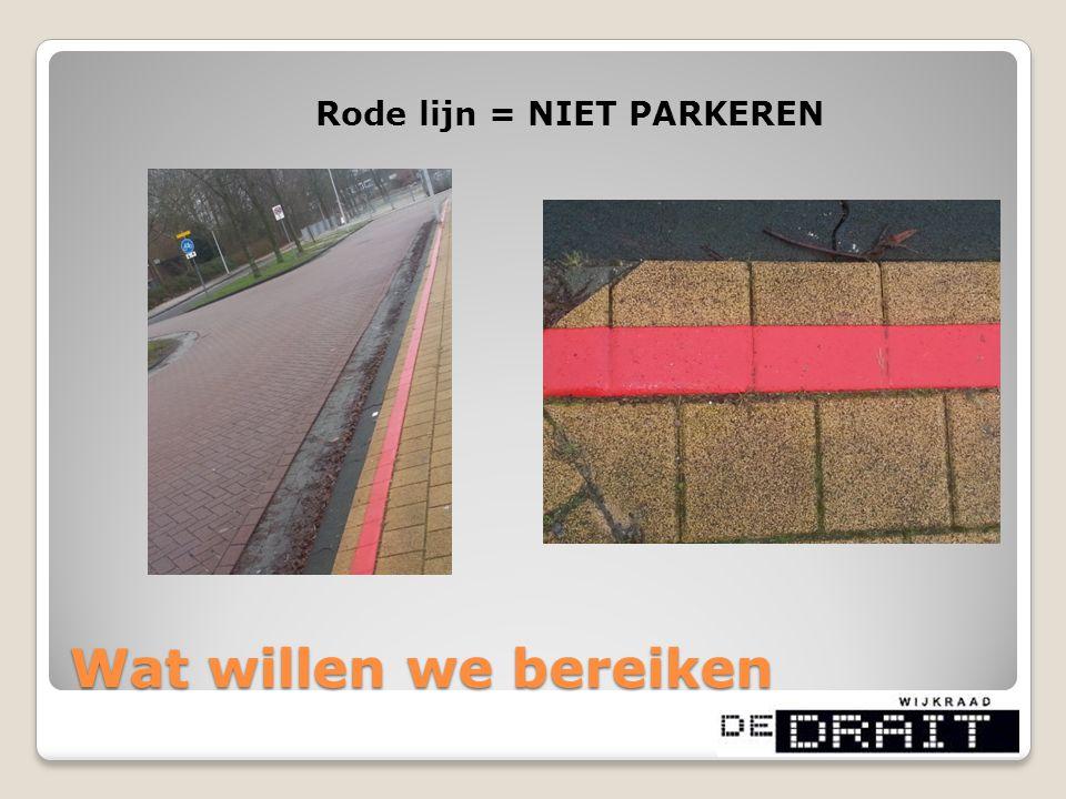 Rode lijn = NIET PARKEREN