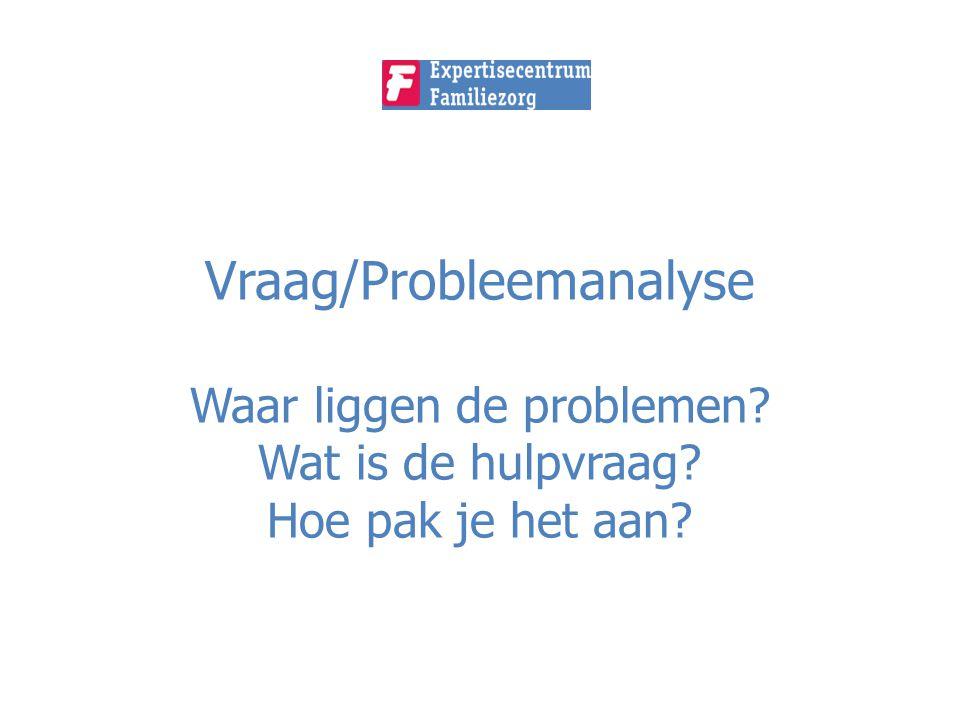 Vraag/Probleemanalyse Waar liggen de problemen. Wat is de hulpvraag