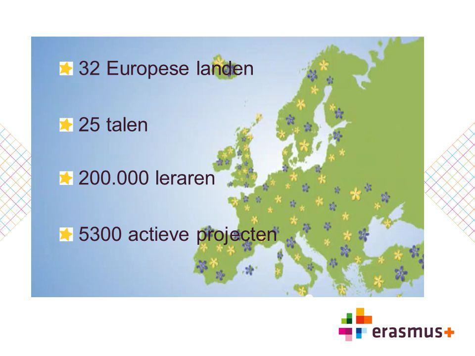 32 Europese landen 25 talen 200.000 leraren 5300 actieve projecten