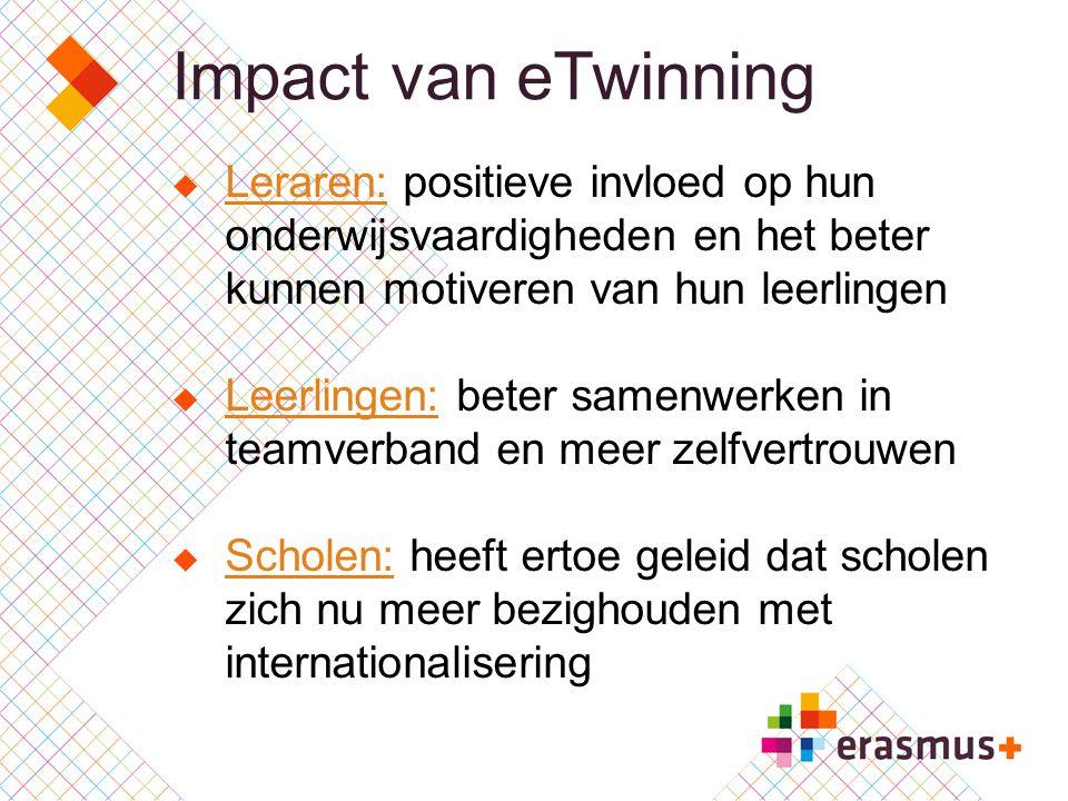 Impact van eTwinning Leraren: positieve invloed op hun onderwijsvaardigheden en het beter kunnen motiveren van hun leerlingen.