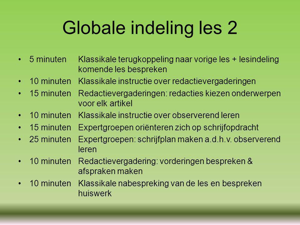 Globale indeling les 2 5 minuten Klassikale terugkoppeling naar vorige les + lesindeling komende les bespreken.