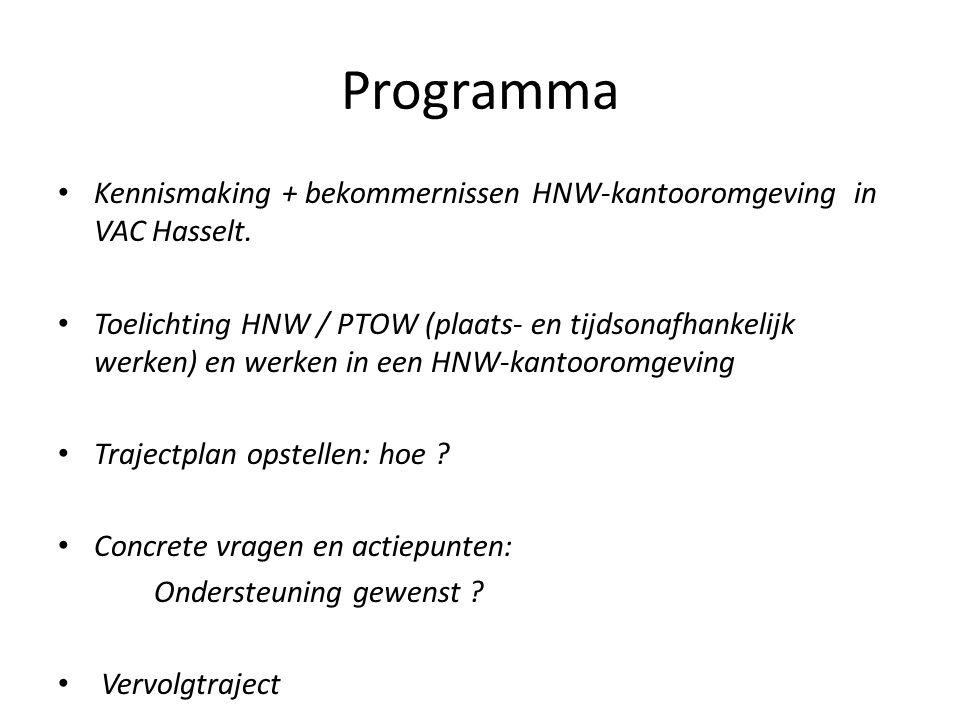 Programma Kennismaking + bekommernissen HNW-kantooromgeving in VAC Hasselt.
