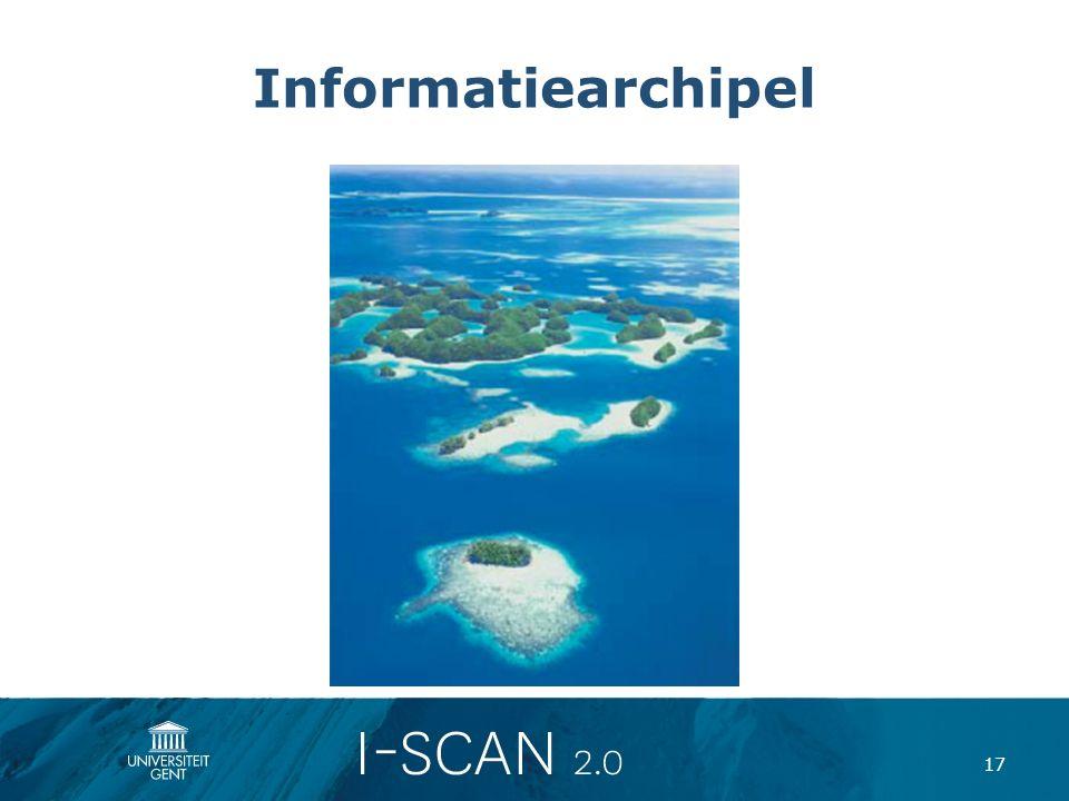 Informatiearchipel Bij ICT is er sprake van eiland informatisering; zaken worden op dienstniveau georganiseerd;