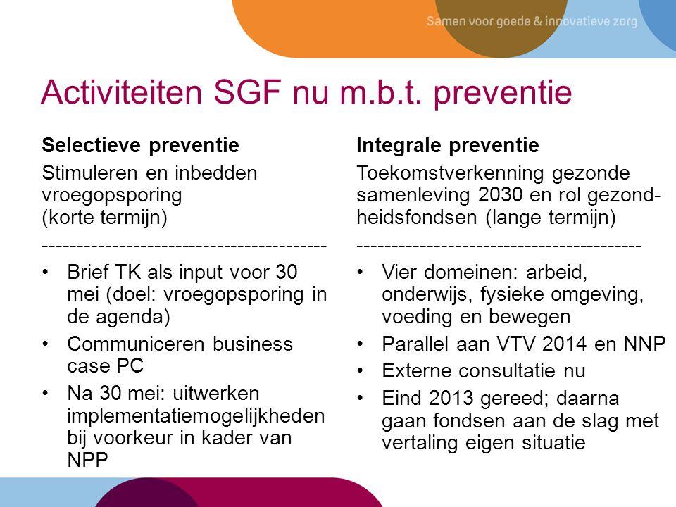 Activiteiten SGF nu m.b.t. preventie