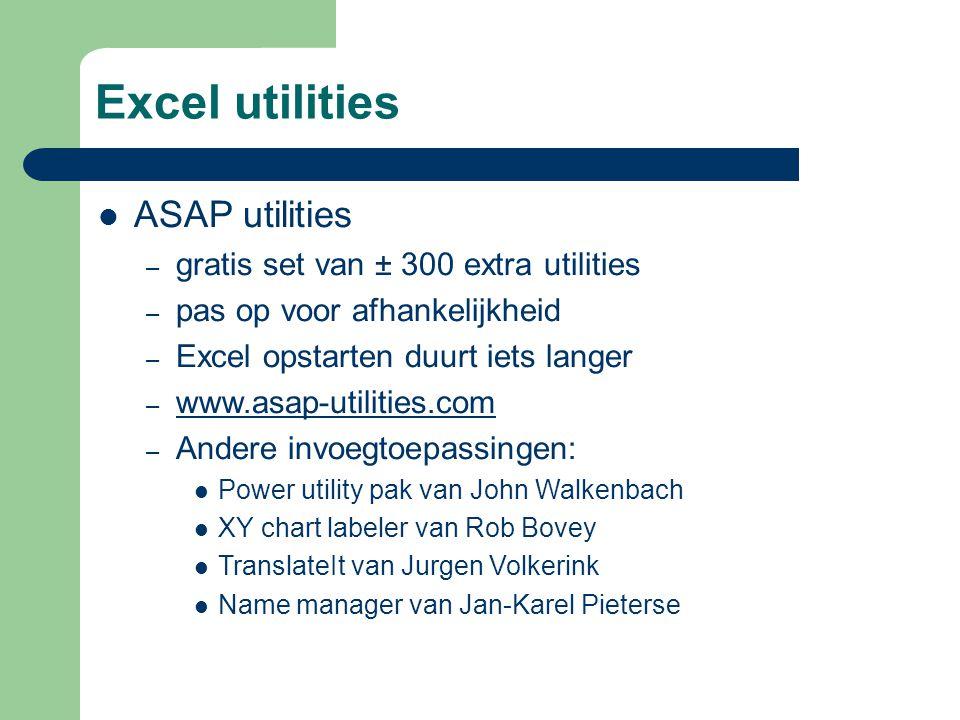 Excel utilities ASAP utilities gratis set van ± 300 extra utilities
