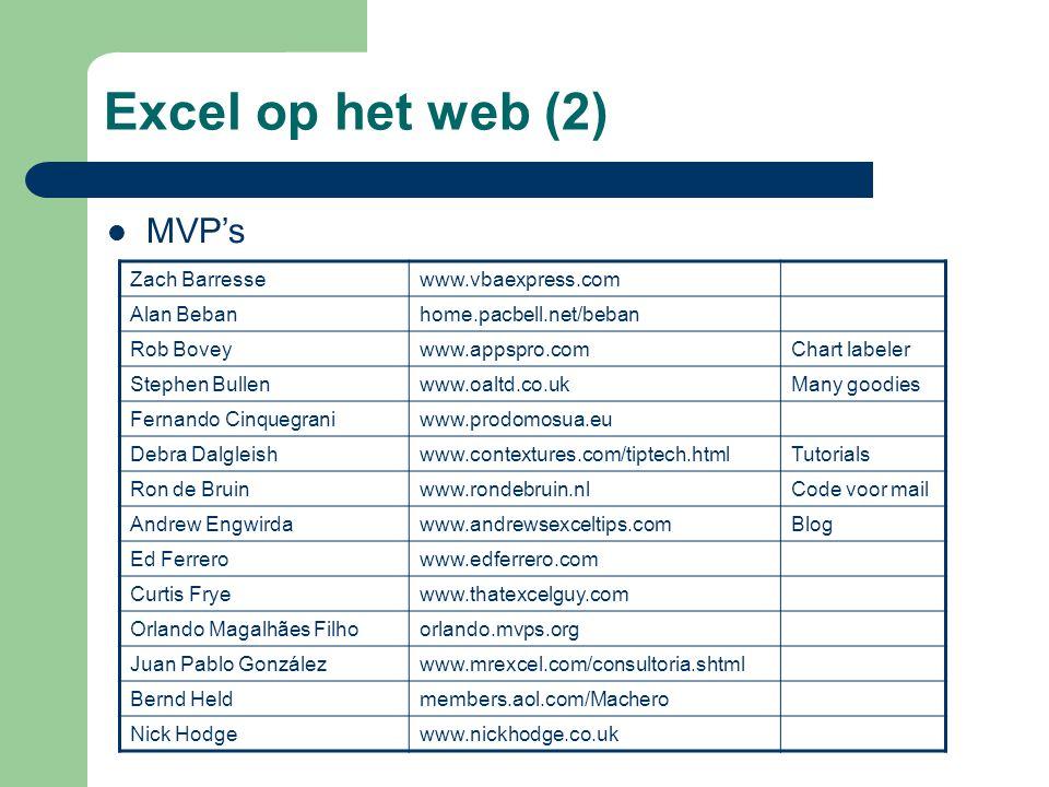 Excel op het web (2) MVP's Zach Barresse www.vbaexpress.com Alan Beban