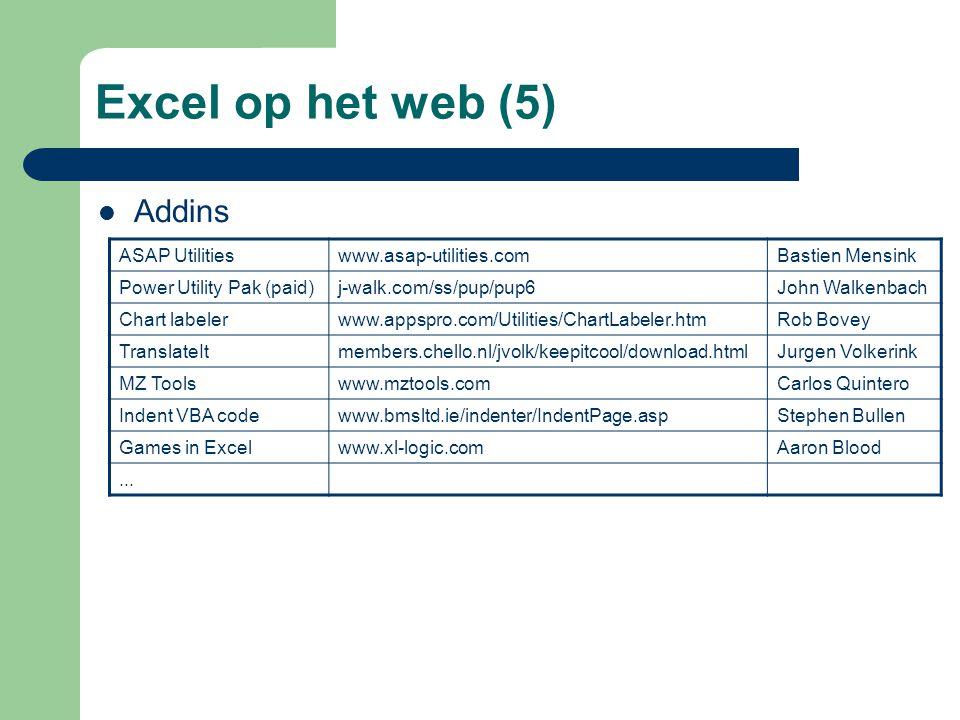 Excel op het web (5) Addins ASAP Utilities www.asap-utilities.com