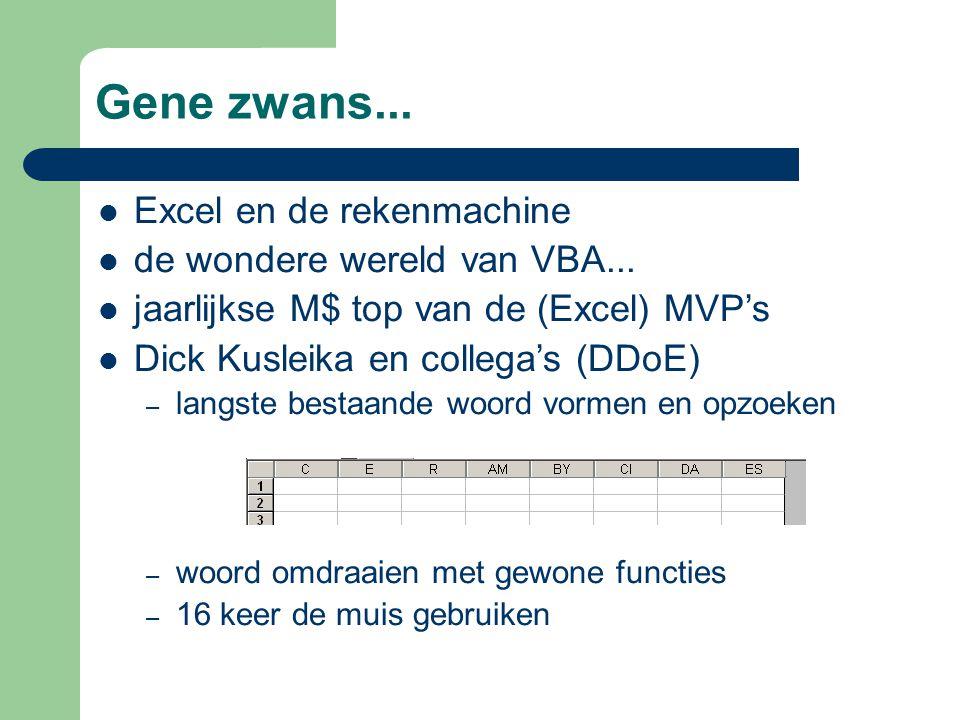 Gene zwans... Excel en de rekenmachine de wondere wereld van VBA...