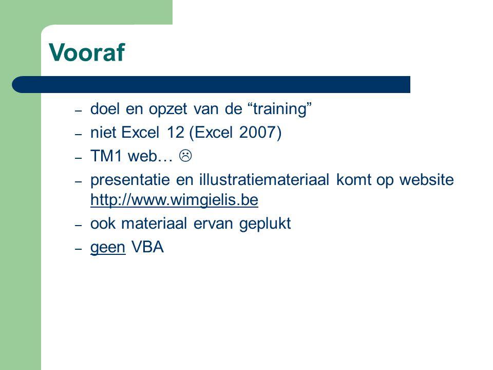 Vooraf doel en opzet van de training niet Excel 12 (Excel 2007)