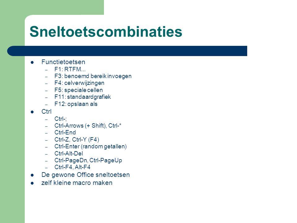 Sneltoetscombinaties