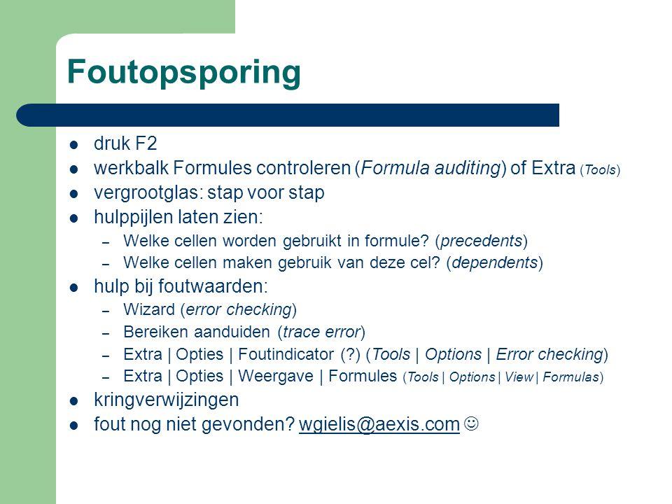 Foutopsporing druk F2. werkbalk Formules controleren (Formula auditing) of Extra (Tools) vergrootglas: stap voor stap.