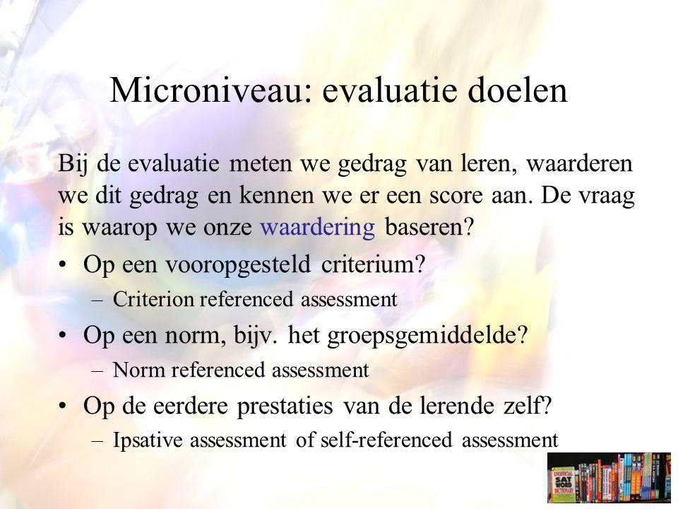 Microniveau: evaluatie doelen
