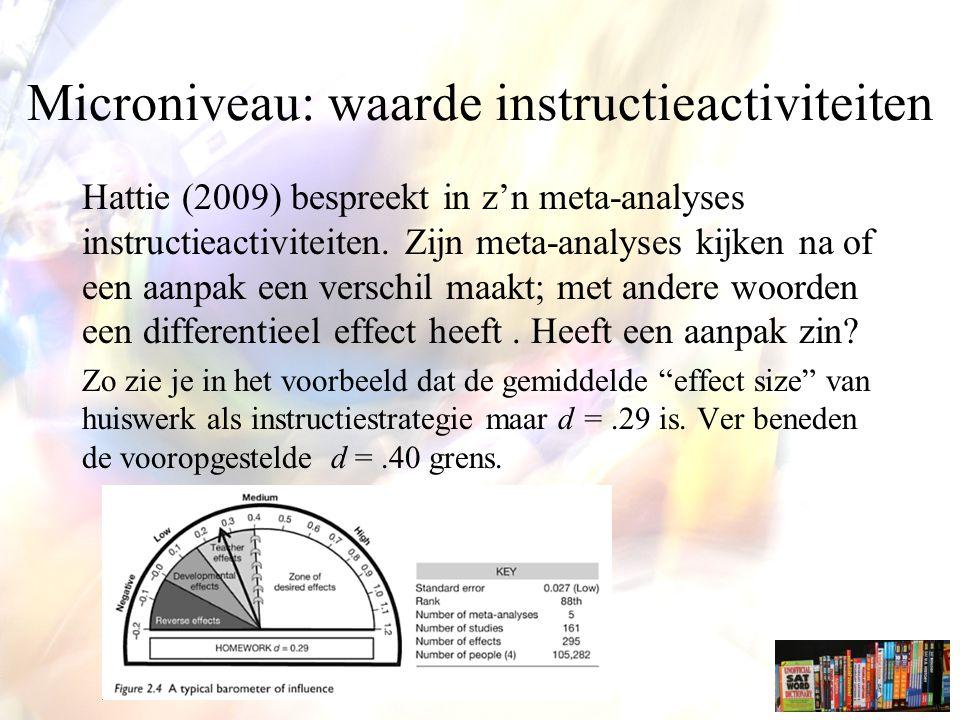 Microniveau: waarde instructieactiviteiten
