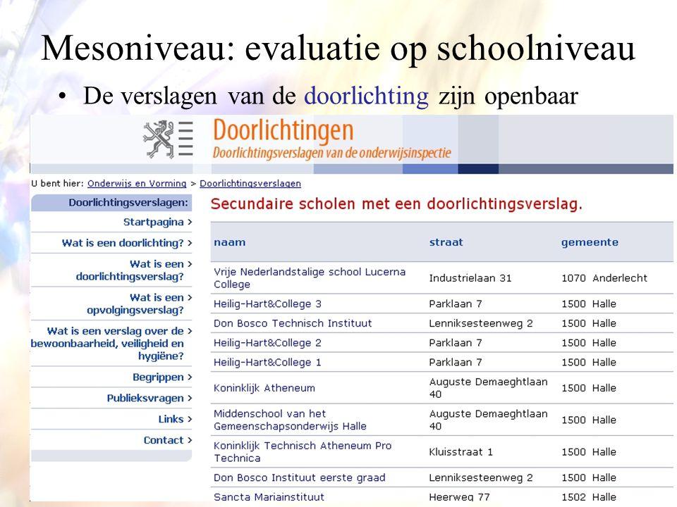 Mesoniveau: evaluatie op schoolniveau