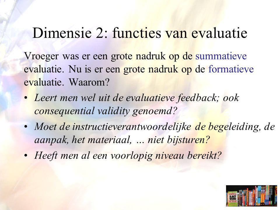Dimensie 2: functies van evaluatie