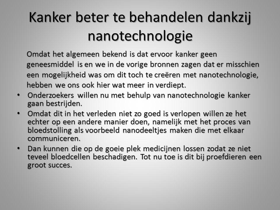 Kanker beter te behandelen dankzij nanotechnologie