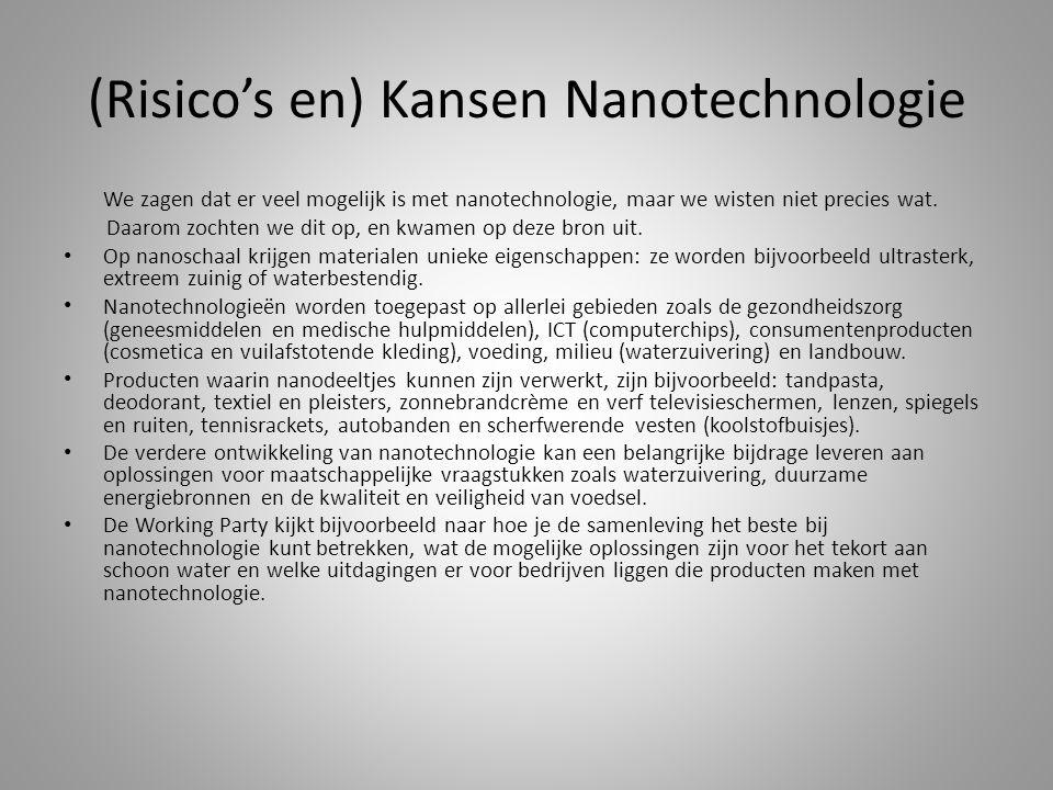 (Risico's en) Kansen Nanotechnologie