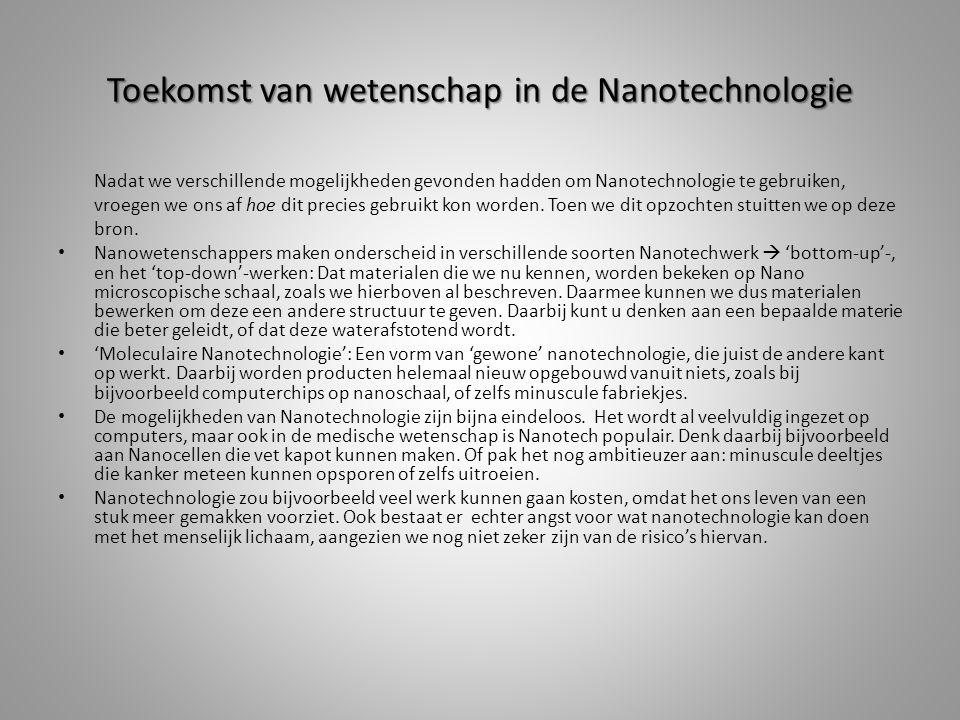 Toekomst van wetenschap in de Nanotechnologie