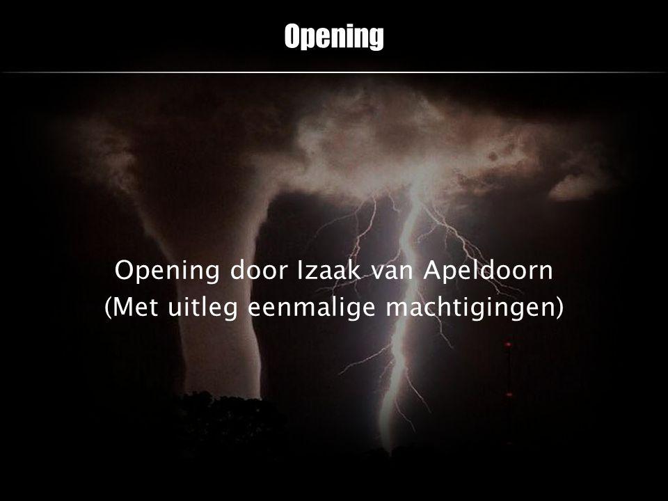 Opening door Izaak van Apeldoorn (Met uitleg eenmalige machtigingen)