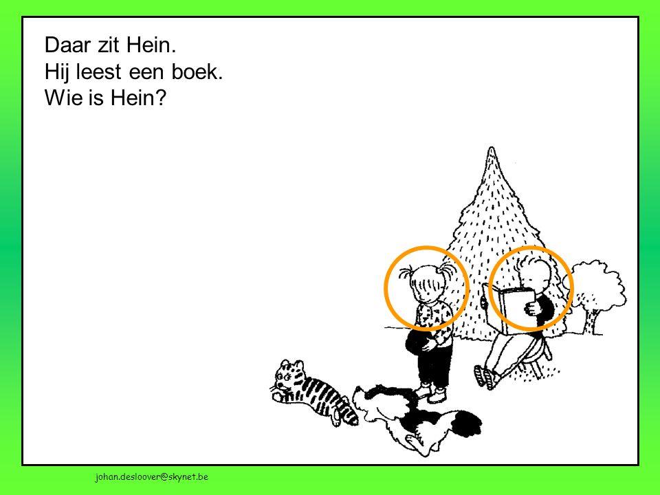 Daar zit Hein. Hij leest een boek. Wie is Hein