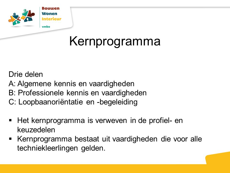 Kernprogramma Drie delen A: Algemene kennis en vaardigheden