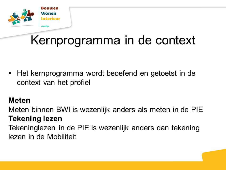 Kernprogramma in de context