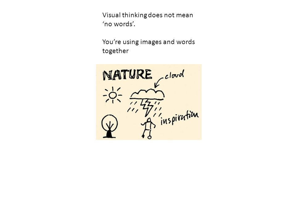 Visual thinking does not mean 'no words'.