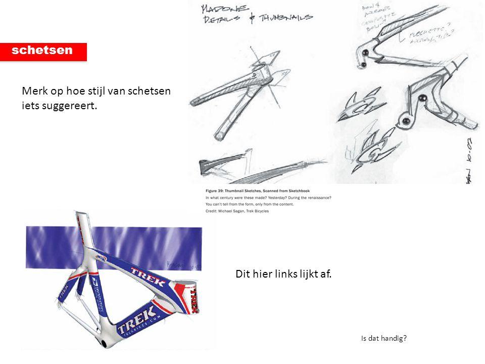 Merk op hoe stijl van schetsen iets suggereert.