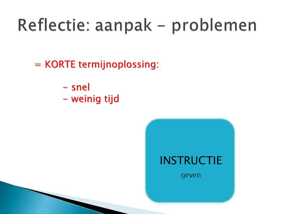 Reflectie: aanpak - problemen
