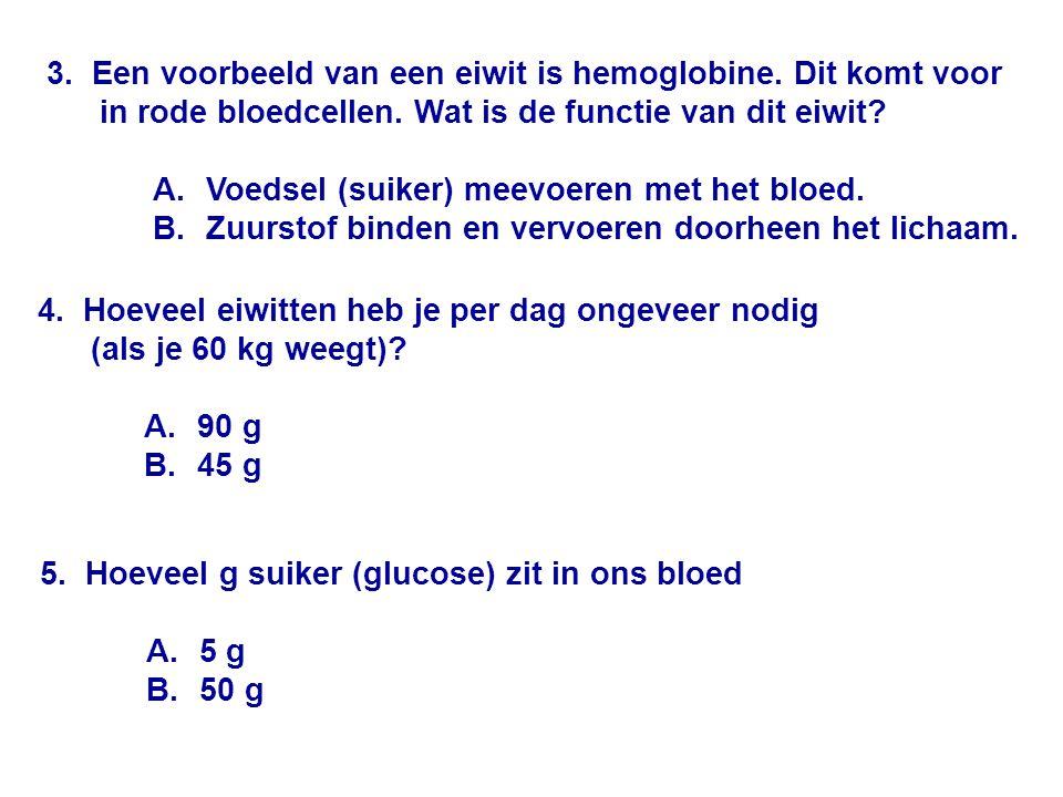 3. Een voorbeeld van een eiwit is hemoglobine. Dit komt voor