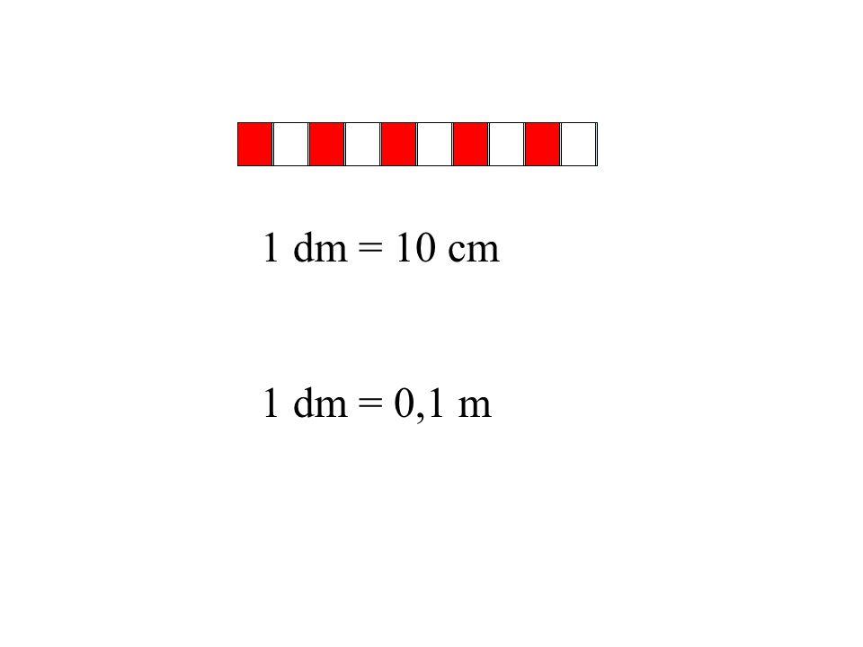 1 dm = 10 cm 1 dm = 0,1 m
