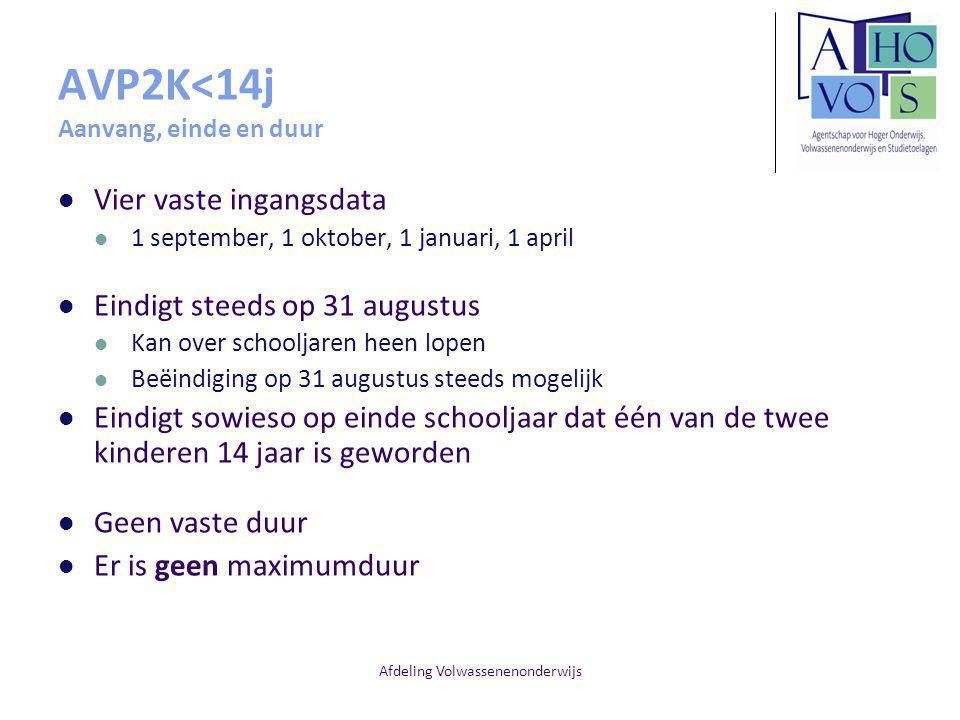 AVP2K<14j Aanvang, einde en duur