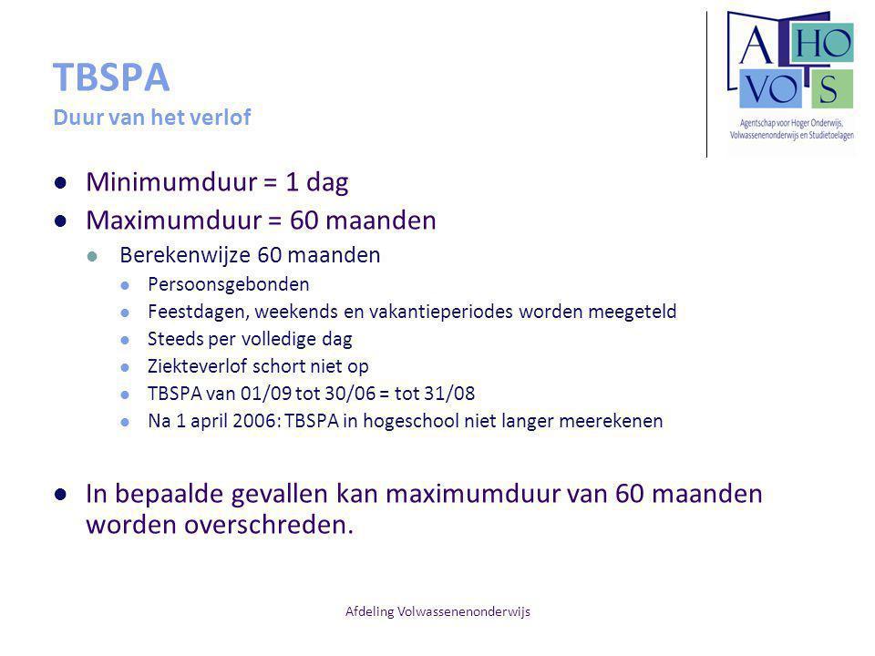 TBSPA Duur van het verlof