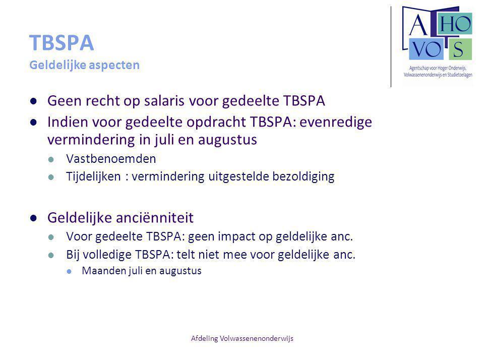 TBSPA Geldelijke aspecten