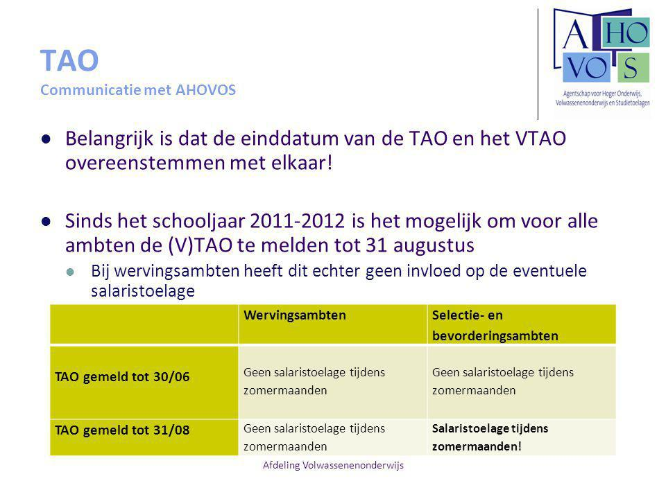 TAO Communicatie met AHOVOS