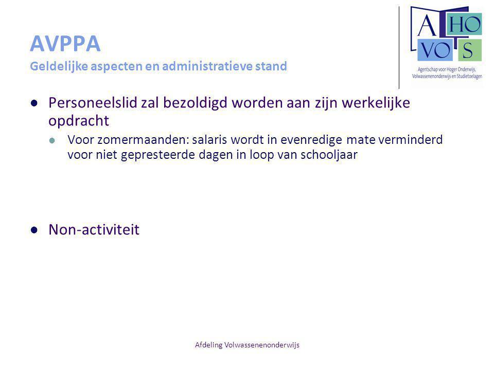 AVPPA Geldelijke aspecten en administratieve stand