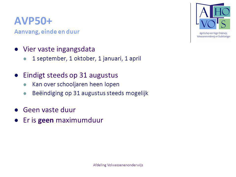 AVP50+ Aanvang, einde en duur