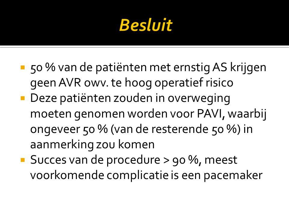 Besluit 50 % van de patiënten met ernstig AS krijgen geen AVR owv. te hoog operatief risico.