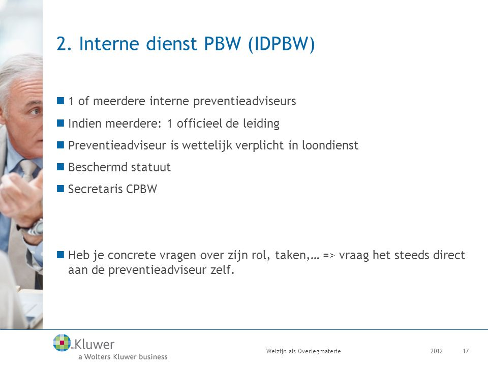 2. Interne dienst PBW (IDPBW)